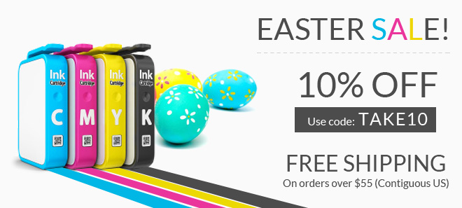 Easter sale on printer ink and toner + free shipping offer