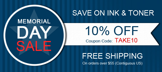 Memorial Day sale on printer ink and toner + free shipping offer