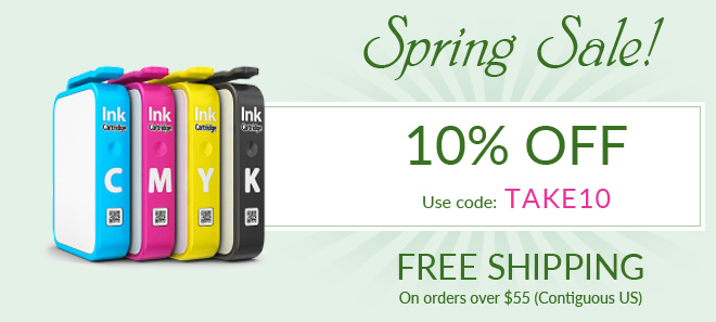 Spring sale on printer ink and toner + free shipping offer