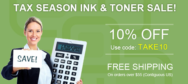 Tax season sale on printer ink and toner + free shipping offer