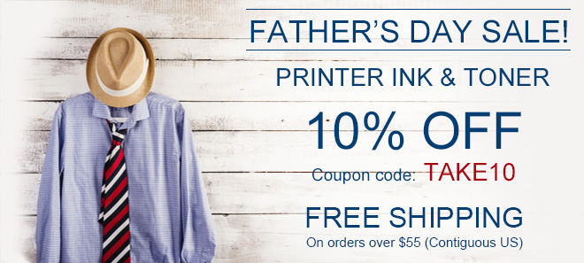 Father's sale on printer ink and toner + free shipping offer