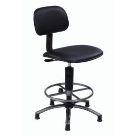 Lab Swivel Stool Black Vinyl 25 - 29""