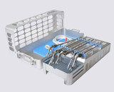 """Lap chole case, two level, with insert and brackets for up to 65 cm or 26"""" instruments (shown with optional pin mat in the base for additional instrument storage)"""