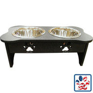 IndiPets Black Elevated Feeder with Paw Prints