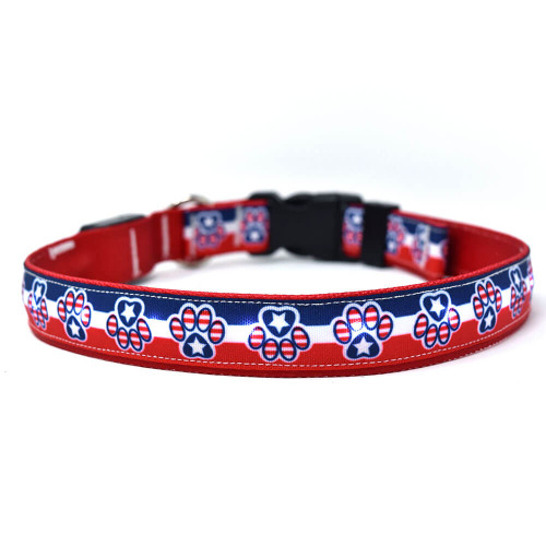 Yellow dog Design Patriotic Paw Orion LED Collar