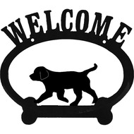 Sweeney Ridge Puppy Oval Metal Welcome Sign