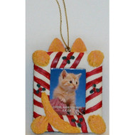 SDISC Picture Frame CAT CANDY CANE Magnet-Ornament