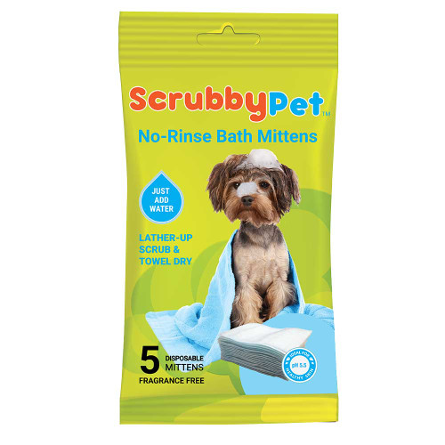Scrubby Pet No Rinse Bath Mittens
