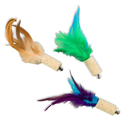 SPOT Cat Barnet Cork with Feathers and Bell Cat Toy