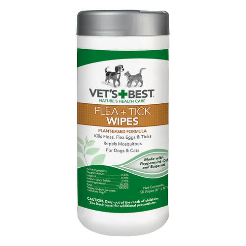 Vets Best Flea and Tick Wipes for Dogs and Cats 50 Count