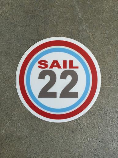 """Sail22 Sticker - 4"""" Round"""