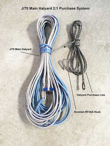 Purchase line is on the right hand side of this image of the complete Sail22 2:1 Main Halyard system. Order halyard, purchase line and Ronstan RF48A hook separately to complete the system.
