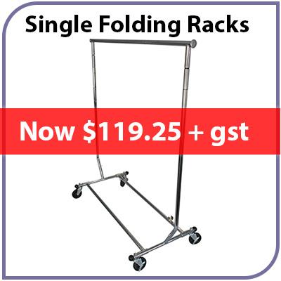 Single Folding Garment Rack Chrome