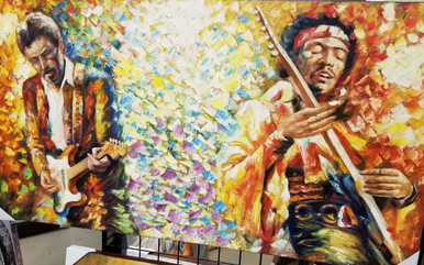 Jimi Hendrix performing with Eric Clapton oil painting