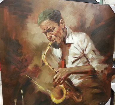 Sax player oil painting
