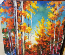 "Oil Painting of Trees in Fall.  Stretched canvas on a frame ready to go on the wall. Size: L 40""  X W 40"" X D 3"""