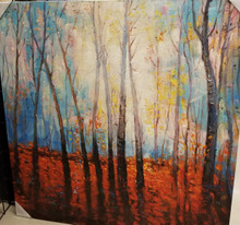 "Unique Oil Painting.  Stretched canvas on a frame ready to go on the wall. Size: L 40""  X W 40"" X D 3"""