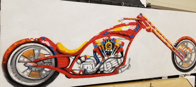 "Original Oil Painting of Motorcycle.  Stretched canvas on a frame ready to go on the wall. Size: L 60""  X W 20"" X D 3"""