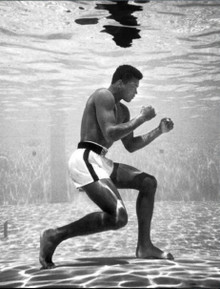 "Ali underwater training pose. Framed art. Size: W 28"" X H 36"" X D 2"""