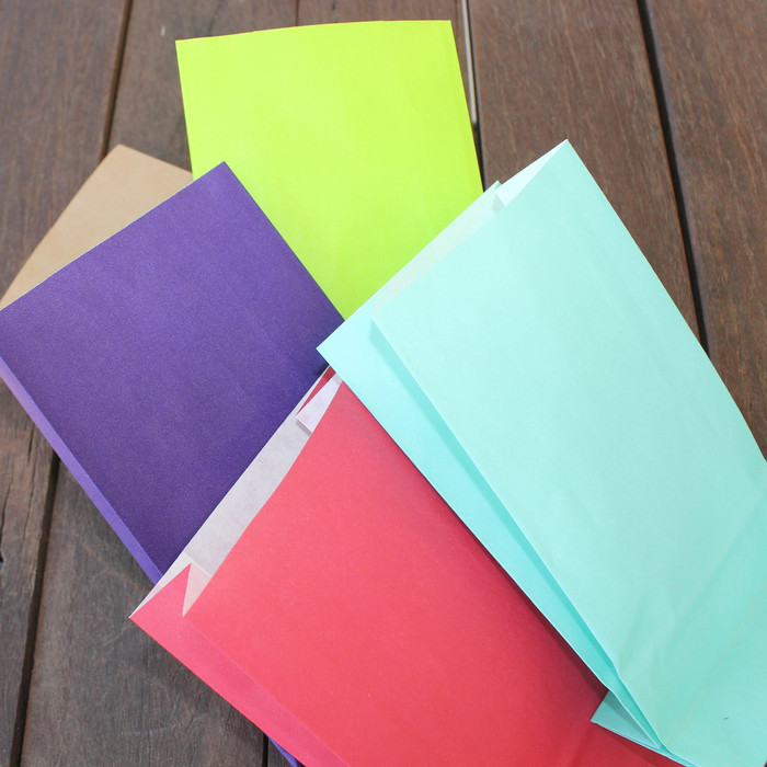 We carry a line of Colorful Bags - Purple, Lime Green, Light Blue, Red and Brown Kraft.