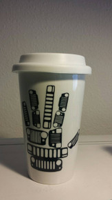 Ceramic Travel Mug- Jeep Grill Wave