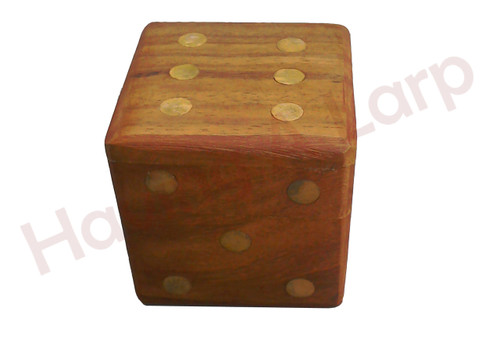 Wooden dice box with 5 dice. The dots, on both the small dice and the box, are all inlaid with brass, to match the hinge.