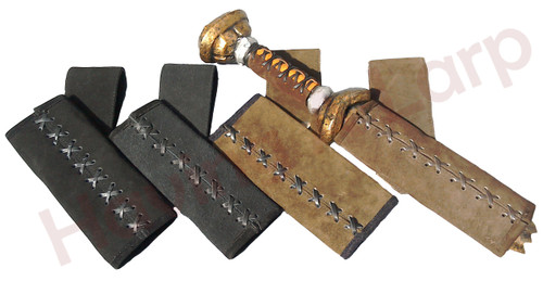 Wide and narrow scabbards shown in both brown and black