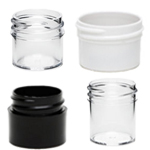 Black, Clear, and White Plastic Jars