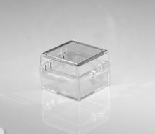 "Clear Plastic Box with Hinged Lid - 1"" x 1"" x 3/4"""