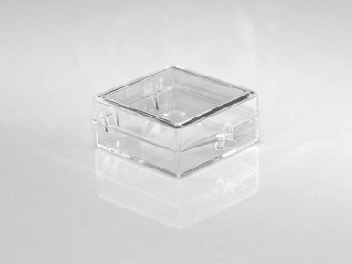 "Clear Plastic Hinged Lid Box - 1-1/4"" x 1-1/4"" x 1/2"""