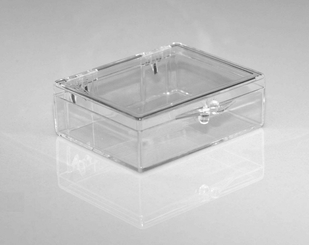 2 18 X 1 58 X 58 Small Plastic Box With Hinged Lid 210
