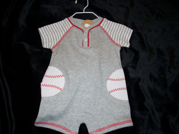Baseball Raglan One Piece 0-3 mo