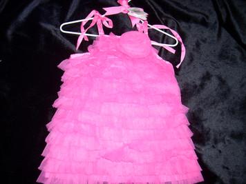Hot Pink Chiffon Ruffle Dress