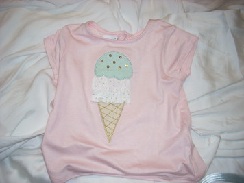 Ice Cream Cone Shirt Pink Small ( 12-18 Mo)