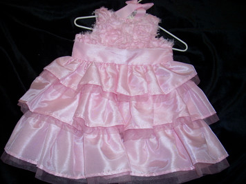 Pink Silk Dress 0-6 mo
