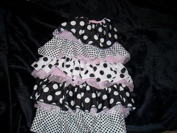 Polka Dot Pink & Black Ruffle Dress