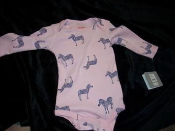 Zebra Rib Body Suit Pink 6mo