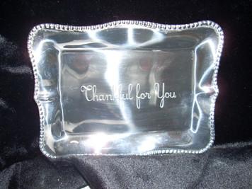 Thankful for You Pearl Denisse Retangular Engraved Tray