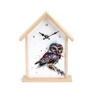 Saw Whet Owl Birdhouse Clock