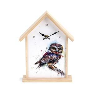 Saw Whet Owl Birdhouse Clock