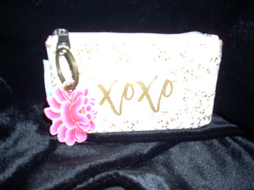 Papaya White Guilded Flowers Coin Purse