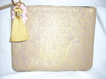 Papaya Paisley Gold Pocket Clutch