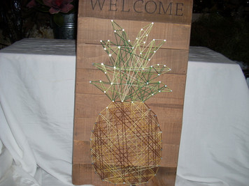 Wooden Sign w/ String Art Welcome Pineapple