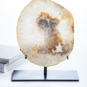 Natural Agate Slab and Iron Agate Stand