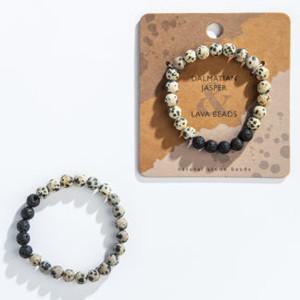 Dalmatian Jaspar Lava Bracelet