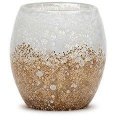 Glisten + Glass Sandstone White Votive Holder