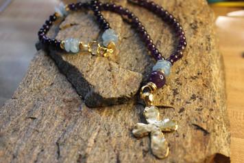 Grace Amethyst Necklace w/ gold cross