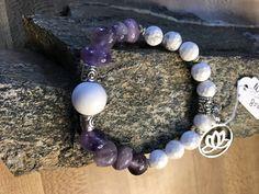 Lavender Amethyst, White Turquoise, Silver Lotus Charm