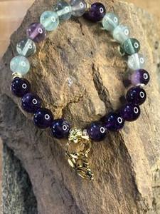 Amethyst, Fluorite, Gold Lotus Charm Bracelet