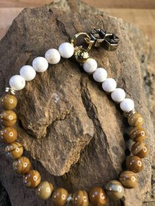 White Turquoise. Opal, w/ Black Gold Cross